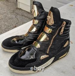 Versace Medusa Gold Plate Black Leather High-Top Sneakers Boots RARE Mens 11