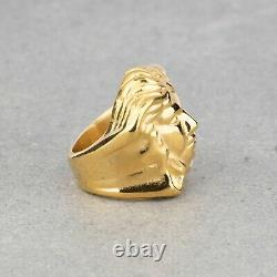 Versace Medusa Head Ring For Men Metallic Yellow Gold Plated Large Heavy Size 7