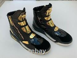 Versace Medusa Sneakers Gold Plate Black Leather High-Top Sneakers Boots RARE