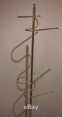 Vintage 1960/70's MID Century Modern Brass Plated Towel Standing Tree Rack Stand