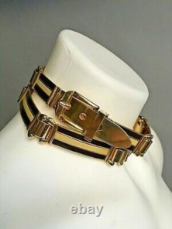 Vintage 1970s Gucci Belt Metal Gold Plated Enamel Brown/Cream Italy