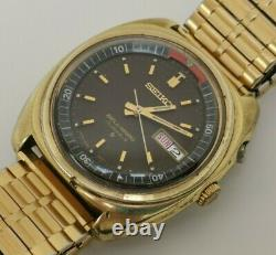 Vintage 1971 Seiko Bellmatic 4006 6031 Alarm Gold Plate Brown Face Gents Watch