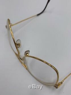 Vintage 1980s Cartier Santos Gold Plated Aviator Glasses Sunglasses 62 140