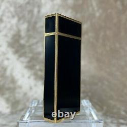 Vintage Authentic Cartier Gas Lighter Short Pentagon Black Lacquer Gold Plated