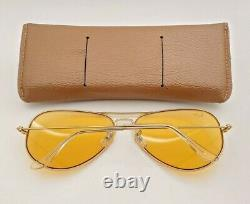 Vintage B&L Ray Ban Bausch & Lomb Ambermatic 62mm Gold Aviator withCase