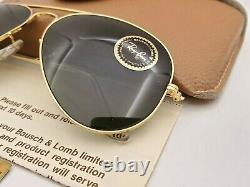 Vintage B&L Ray Ban Bausch & Lomb Gold Aviator G15 Gray 58mm L0205 withCase