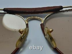 Vintage B&l Ray Ban Leathers Changeable U. S. A Sunglasses Gold Plated Aviator