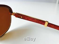 Vintage CARTIER MALMAISON sunglasses gold plated rose wood bubinga 56/19 LARGE