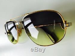 Vintage CARTIER ROMANCE SANTOS rare sunglasses 22K gold plated 5818 MEDIUM