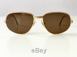 Vintage CARTIER ROMANCE sunglasses 22K gold plated 58/18 Vendome Tank Santos