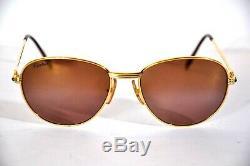 Vintage Cartier 18K Gold Plated Sapphire Sunglasses 57-18
