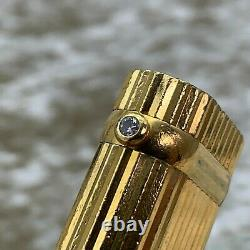 Vintage Cartier Gas Lighter 18K Gold Plated Body with 1P Diamond Godron No Box