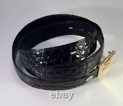 Vintage Cartier Genuine Crocodile Mens Belt Gold Plated Buckle Black 36