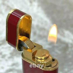 Vintage Cartier Lighter Bordeaux Lacquer Oval 18K Gold Plated Accents No Box