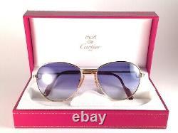 Vintage Cartier Louis 2x Diamonds 55mm Sunglasses 18k Heavy Gold Plated France