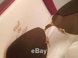 Vintage Cartier Panthere 59mm 14 Medium Sunglasses France 18k Gold Heavy Plated
