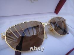 Vintage Cartier Panthere Windsor 55mm Cat Eye Sunglasses France 18k Heavy Plated