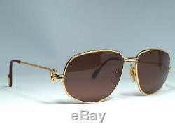 Vintage Cartier Romance Vendome Louis 58mm Sunglasses France Gold Heavy Plated