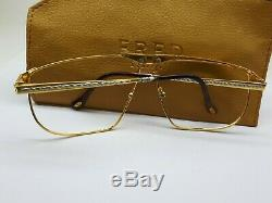 Vintage Fred Ocean Sunglasses France Made Gold Plated Rare 65-12-140 For Repair