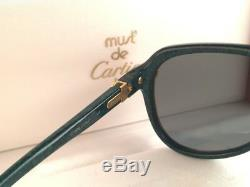 Vintage Rare Cartier Vitesse Green Jade 58mm Sunglasses France 18k Gold Plated