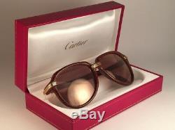 Vintage Rare Cartier Vitesse Jasped Brown 58mm Sunglasses France 18k Gold Plated