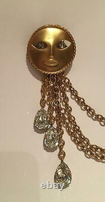 Vintage Sun Brooch, Joseff Jewellery, Gold Sun, Moon, Constellation Jewellery
