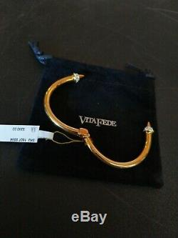 Vita Fede 24k Gold Plated Metal Mini Titan Crystal Hinged Cuff Bracelet SZ M