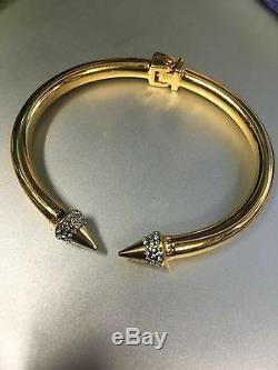 Vita Fede Yellow Gold Plated Metal Mini Titan Crystal Hinged Cuff Bracelet M