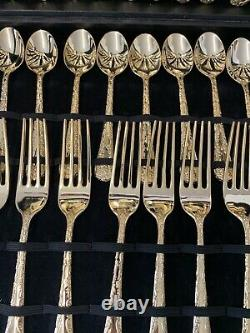 WM Rogers & Sons Enchanted Rose Service for 12 Gold Plated Flatware Set 51 piece