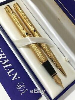 Waterman L'etalon Gold Plated Gt 18k Medium Fountain Pen & Ballpoint-boxed-nos