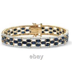Yellow Gold Plated Round Genuine Diamond And Oval Blue Genuine Tennis Bracelet