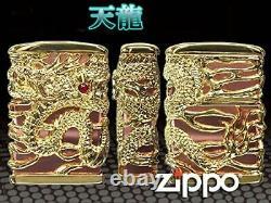 Zippo Lighter Dragon Full Metal Jacket Gold Plate Pink Gold Lighter Japan New