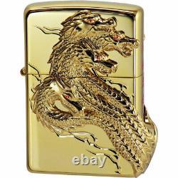 Zippo Yamatanoorochi Snake 3-sides Metal Kanji Gold Plating Japan Limited