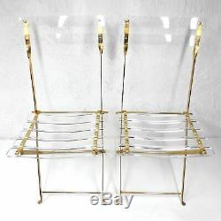2 Vintage Plaqué Plexiglas Gold Chaises Pliantes Par Des Designers Labovici & Berthet
