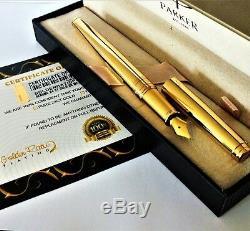 24ct Plaqué Or Brillant Métal Parker Aster Fontaine Écriture Stylo Cadeau Boxed 24k