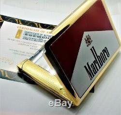 24ct Plaqué Or Métal Marlboro Rouge Étui À Cigarettes Boîte-cadeau Avec Briquet 24k