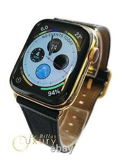 24k Gold Plaqué 44mm Apple Watch Series 5 Stainless Steel Black Leather Gps Lte
