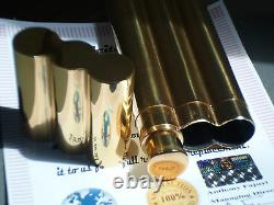 24k Gold Plated Cohiba Metal 2 Tube Cigar Holder Case Et Hip Flask Gift Idea