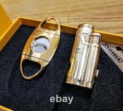 24k Gold Plated Metal Cohiba Jet Lighter And Cigar Cutter Coffret Cadeau Boîte 24ct