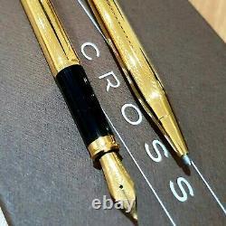 24k Gold Plated Metal Cross Century II Pen Set Fountain & Ball Point Encre Noire