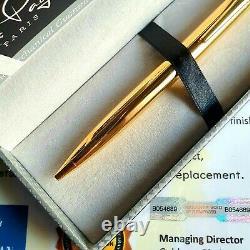 24k Or Plaqué Métal Louis Paget Ball Point Pen Shiny Twist Black Ink Gift Box