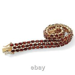 25 Bracelet De Tennis Tcw Genuine Garnet 14k Plaqué Or 7,25