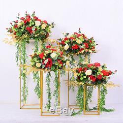 4pcs Métal Placage Floral Décor De Vase Colonne De Sol Stand De Route Conduire Mariage Offre