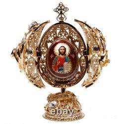 5.7 Icône D'oeufs Plaqués Or. Jésus Christ Icône Orthodoxe Avec La Croix