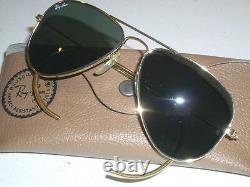 58mm B&l Ray Ban USA Moyen G15 Suggestions D'aviateurs D'or Avec Case Mint/superb