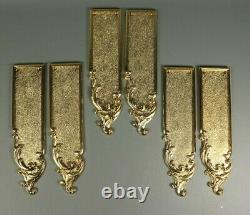 6 Antique Style Louis XV Plaques De Poussoir De Porte En Laiton Doré Français 3 Paires