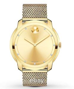 $795 Movado Bold Large Diamond And Gold Plated Mesh Watch 3600460