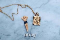 925 Argent Métal Massif 14k Plaqué Or Jaune Playboy Bunny Stamp Pendentif Seulement