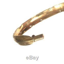 $ 990 Tom Ford Bracelet Manchette À Plumes Sculpté En Métal Doré Antique Authentic