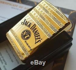 Allumeur En Métal Plaqué Or 24k Jack Daniels Barrel Zippo Briquet Mèche De Silex En Boîte